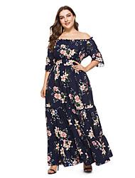 economico -Per donna sofisticato / Elegante Manica a sbuffo Swing Vestito - Con stampe, Fantasia floreale Maxi
