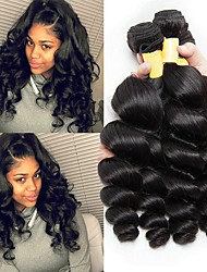 cheap -3 Bundles Malaysian Hair Wavy Unprocessed Human Hair Natural Color Hair Weaves / Extension 8-28 inch Human Hair Weaves Machine Made Best Quality / Hot Sale / For Black Women Natural Human Hair