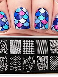 billige -1 pcs Stempling plade Skabelon Moderigtigt Design Negle kunst Manicure Pedicure Stilfuld / Mode Daglig / Stempling Plate / Metal