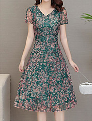 Недорогие -Жен. Тонкие Абайя Платье V-образный вырез Средней длины