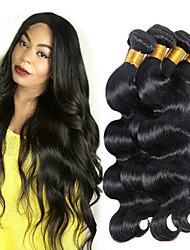 Недорогие -4 Связки Бразильские волосы Естественные кудри 8A Натуральные волосы Головные уборы Удлинитель Накладки из натуральных волос 10-28 дюймовый Черный Естественный цвет Ткет человеческих волос