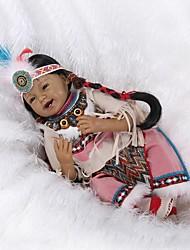 Недорогие -NPKCOLLECTION NPK DOLL Куклы реборн Кукла для девочек Девочки Индийская девушка Африканская кукла 24 дюймовый как живой Очаровательный Искусственная имплантация Коричневые глаза Детские Девочки