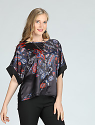 baratos -Mulheres Blusa Vintage / Temática Asiática Estampado, Floral