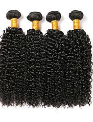 billige -4 pakker Peruviansk hår Kinky Curly Menneskehår Hovedstykke / Udvidelse / Bundle Hair 8-28 inch Menneskehår Vævninger Maskinproduceret Blød / Silkeagtig / Klassisk Sort Naturlig Farve Menneskehår