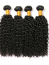 cheap -4 Bundles Brazilian Hair Kinky Curly Human Hair Headpiece / Extension / Bundle Hair 8-28 inch Human Hair Weaves Machine Made Classic / Natural / Best Quality Black Natural Color Human Hair Extensions