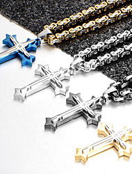 cheap -Men's Cubic Zirconia Pendant Necklace - Stainless Steel, Titanium Steel Cross Vintage, Fashion Black, Silver, Blue 60 cm Necklace Jewelry For Party, Gift