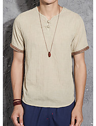cheap -Men's Linen T-shirt - Solid Colored V Neck / Short Sleeve