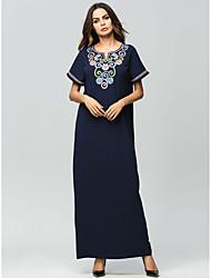 baratos -Mulheres Básico Abaya Vestido - Bordado Longo