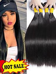 abordables -4 offres groupées Cheveux Indiens Droit Cheveux humains Tissages de cheveux humains / Extension 8-28 pouce Naturel Tissages de cheveux humains Fabriqué à la machine Nouvelle arrivee / 100% vierge