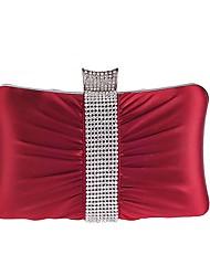 abordables -Mujer Bolsos Poliéster Bolso de Noche Detalles de Cristal / Un Color Rojo / Morado / Plateado