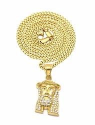 cheap -Men's Cubic Zirconia Stylish / Cuban Link Pendant Necklace / Chain Necklace - Stainless Head, Faith Stylish, European, Hip-Hop Gold 60 cm Necklace 1pc For Street, Festival