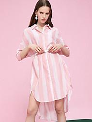 cheap -Women's Basic Shirt Dress - Striped