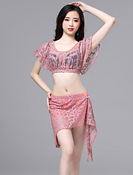 cheap -Belly Dance Outfits Women's Performance Lace Ruching Short Sleeve Dropped Skirts / Top