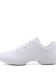 cheap -Women's Dance Sneakers Knit Sneaker Thick Heel Customizable Dance Shoes White