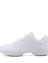 abordables -Femme Baskets de Danse Tricot Basket Talon épais Personnalisables Chaussures de danse Blanc