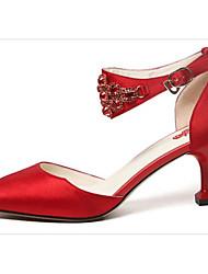 economico -Per donna Scarpe Raso Primavera / Autunno Comoda / Decolleté scarpe da sposa A cono Rosso / Matrimonio
