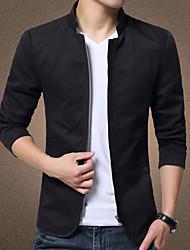 Недорогие -Муж. Куртка Однотонный, Хлопок / Лён / С короткими рукавами / Большие размеры