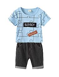 Недорогие -малыш Мальчики В клетку / Пэчворк С короткими рукавами Набор одежды
