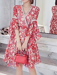 cheap -Women's Basic A Line Dress V Neck