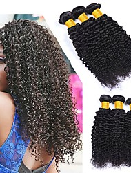 cheap -3 Bundles Malaysian Hair Kinky Curly Human Hair Natural Color Hair Weaves / One Pack Solution / Human Hair Extensions 8-28 inch Human Hair Weaves Best Quality / Hot Sale / For Black Women Natural