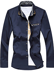 billige -Herre - Ensfarvet Bomuld Plusstørrelser Skjorte / Langærmet