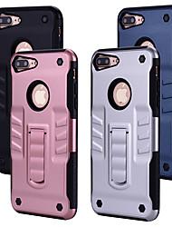 Недорогие -Кейс для Назначение Apple iPhone 8 Plus со стендом Кейс на заднюю панель Однотонный Твердый ПК для iPhone 8 Pluss