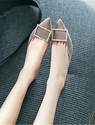 abordables -Mujer Zapatos Piel de Oveja Verano / Primavera verano Pump Básico Zuecos y pantuflas Tacón Cuadrado Dedo Puntiagudo Pedrería Negro / Gris / Caqui