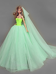 cheap -Dresses Dress For Barbie Doll Green Tulle / Lace / Silk / Cotton Blend Dress For Girl's Doll Toy