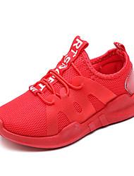 abordables -Chica Zapatos Malla / PU Primavera verano Confort Zapatillas de Atletismo Paseo Flor para Adolescente Negro / Rojo
