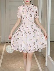 cheap -women's linen / cotton a line dress knee-length