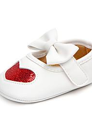 abordables -Fille Chaussures Matière synthétique Eté Premières Chaussures Ballerines Noeud / Scotch Magique pour Bébé Argent / Rouge / Rose
