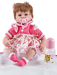 baratos -FeelWind Bonecas Reborn Bebês Meninas 18 polegada realista, Cílios aplicados à mão, Implantação artificial olhos azuis de Criança Para Meninas Dom / Tom de pele natural / Cabeça Floppy