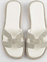 cheap -Women's Shoes Sheepskin Summer Comfort Slippers & Flip-Flops Flat Heel White / Silver