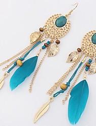 cheap -Women's Tassel / Long Drop Earrings - Leaf Stylish, Classic Black / Red / Blue For Daily