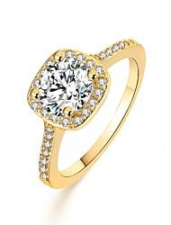 baratos -Mulheres Zircônia Cubica Clássico Anel de declaração - Banhado a Ouro 18K Europeu 6 / 8 / 9 Dourado / Prata / Ouro Rose Para Diário