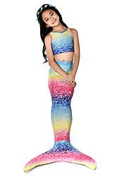 abordables -La Petite Sirène Aqua Princess Bikini Costume Fille Enfant Rétro Noël Halloween Carnaval Fête / Célébration Lycra Tenue Arc-en-ciel Sirène