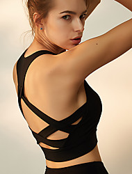 baratos -Mulheres Sem costas Sutiã Top - Preto, Azul Esportes Elastano Sutiã Esportivo Corrida, Fitness, Dança Roupas Esportivas Tapete 3D, Design Anatômico, Redutor de Suor Elasticidade Alta