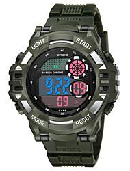 Недорогие -SYNOKE Муж. Спортивные часы электронные часы Цифровой Стеганная ПУ кожа Черный / Белый / Темно-синий 50 m Защита от влаги Календарь Секундомер Цифровой Мода - Черный Темно-синий Темно-зеленый