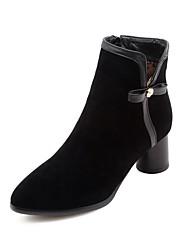 baratos -Mulheres Sapatos Camurça Outono & inverno Curta / Ankle Botas Salto Robusto Dedo Apontado Botas Curtas / Ankle Laço Preto / Amarelo