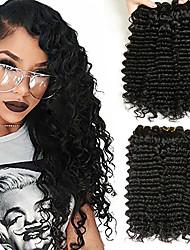 Недорогие -3 Связки Перуанские волосы Крупные кудри 8A Натуральные волосы Удлинитель Накладки из натуральных волос 8-28 дюймовый Черный Естественный цвет Ткет человеческих волос