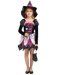 Недорогие -ведьма Костюм Девочки Дети Хэллоуин Хэллоуин Карнавал День детей Фестиваль / праздник Инвентарь Черный Однотонный Halloween
