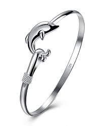 abordables -Femme 3D Bracelets Rigides - Plaqué argent Dauphin, Animal simple, Original Bracelet Argent Pour Quotidien / Travail