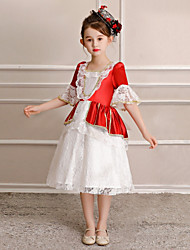 cheap -Princess Sweet Lolita / Rococo Costume Girls' Party Costume / Masquerade / Costume Red and White Vintage Cosplay Polyster Half Sleeve Knee Length Halloween Costumes