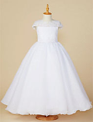 cheap -Ball Gown Ankle Length Flower Girl Dress - Lace / Tulle Short Sleeve Jewel Neck with Beading / Appliques by LAN TING BRIDE®