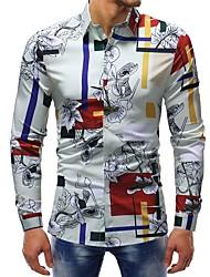 Недорогие -Муж. С принтом Рубашка Классический Полоски / Цветочный принт / Контрастных цветов