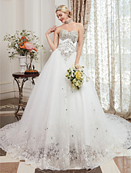 cheap -A-Line Sweetheart Neckline Cathedral Train Lace Over Tulle Made-To-Measure Wedding Dresses with Beading by LAN TING BRIDE® / Sparkle & Shine