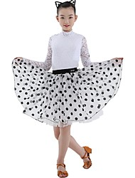 cheap -Latin Dance Outfits Girls' Training Lace / Organza Lace Long Sleeve Natural Skirts / Leotard / Onesie