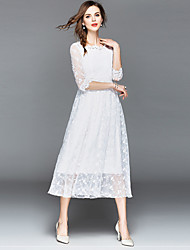 baratos -Mulheres Sofisticado / Elegante Chifon / balanço / Rodado Vestido - Renda, Sólido / Floral Médio