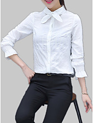 cheap -Women's Cotton Slim Shirt - Solid Colored / Striped Stand