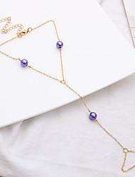 cheap -Beads Ankle Bracelet - Imitation Pearl Asian, Ethnic, Hip-Hop Purple / Blue / Light Blue For Birthday / Street / Women's